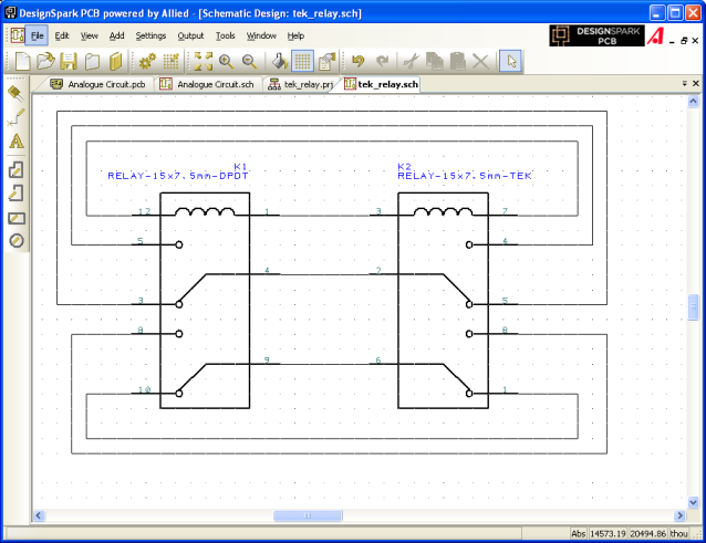 Closeup relay schematic